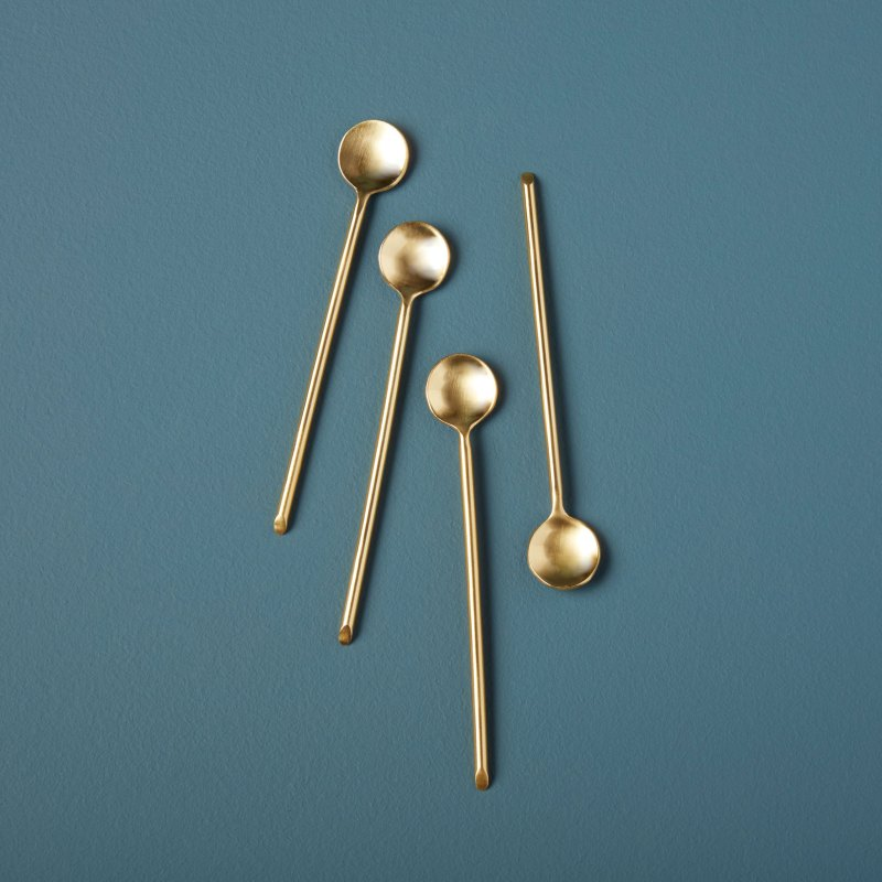 Gold Thin Spoons, Set of 4