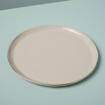 Gold Rim Stoneware Dinner Plate, White