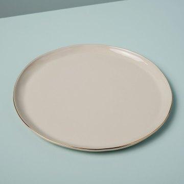 Gold Rim Stoneware Dinner Plate, White