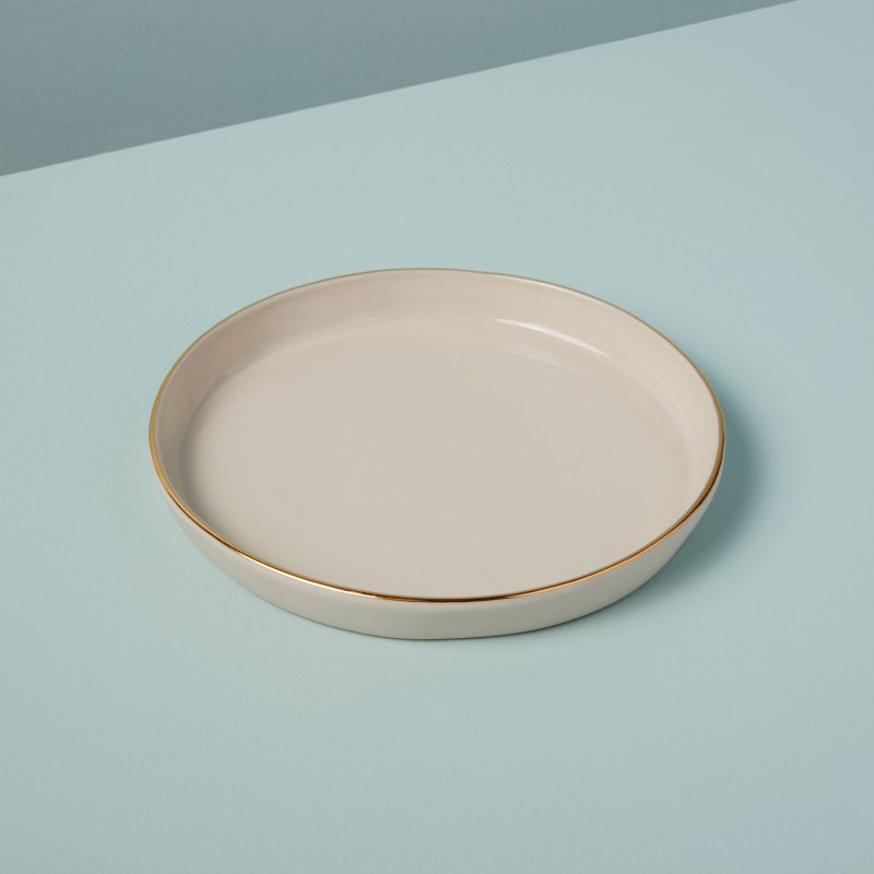 Gold Rim Stoneware Side Plate, White