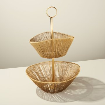 Gold Rhythm Wire 2-Tier Basket