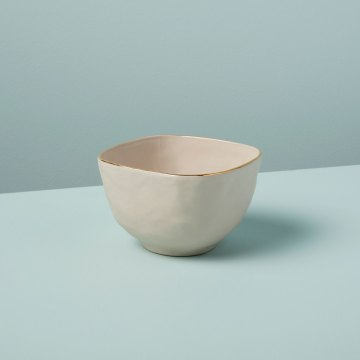 Gold Rim Stoneware Snack Bowl, White