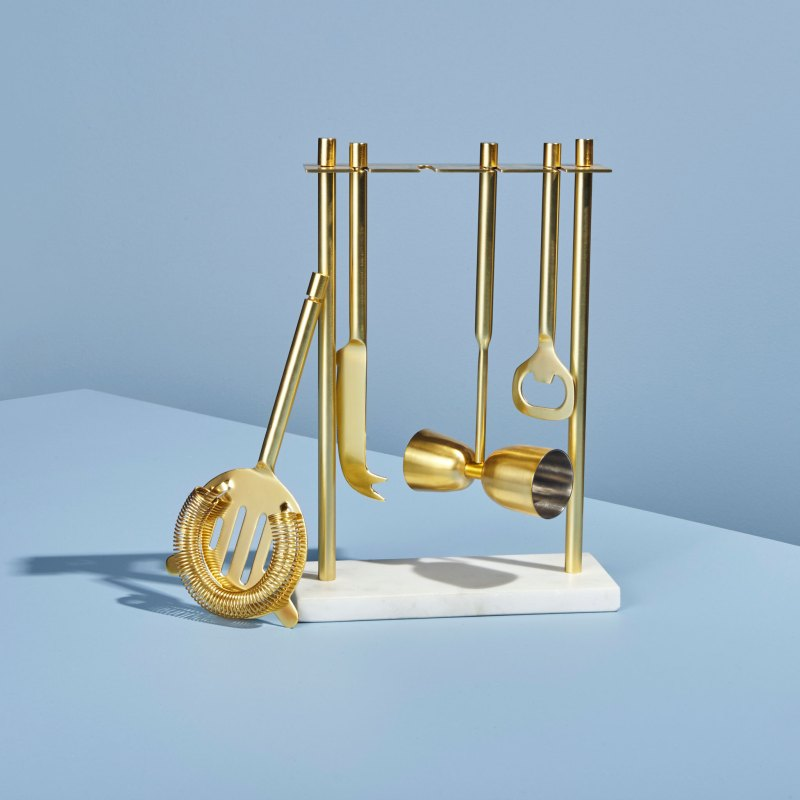 Gold Bar Set with White Marble Stand