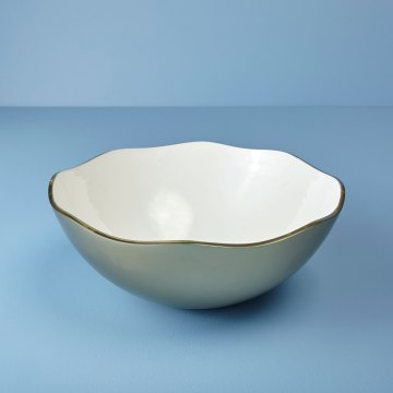 Champagne & Enamel Wave Edge Bowl, Large