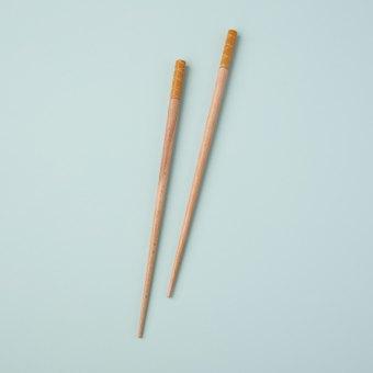 Carved Resin Chopsticks, Mustard