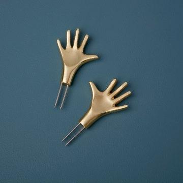Gold Corn Holders, Hands