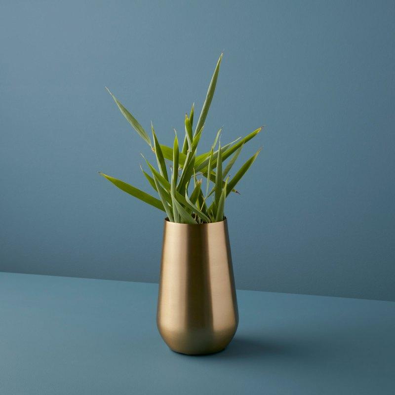 Satin Gold Sloped Vase, Maxi
