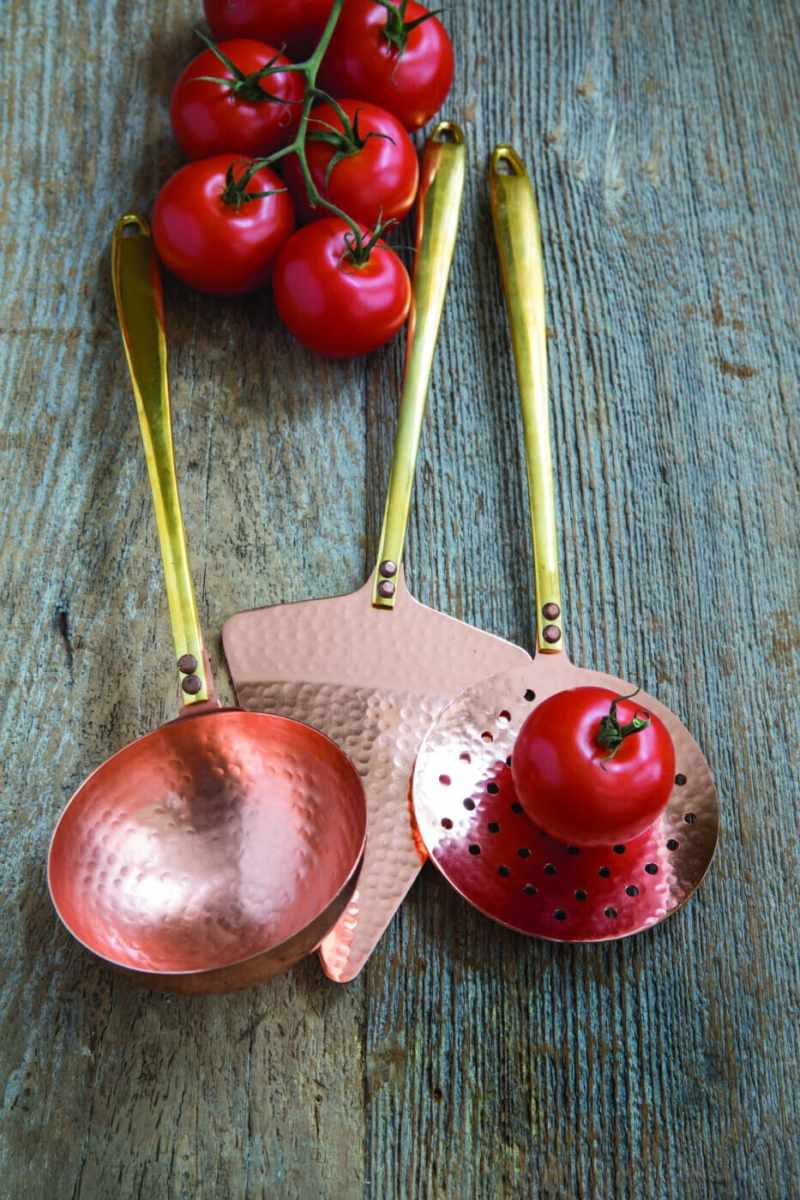 Hammered Copper and Gold Ladle