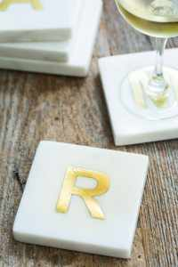 White Marble with Gold Monogram Coasters, S/4 Letter R 3