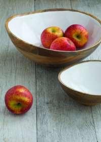 Mango Wood & White Enamel Bowl, Medium 2