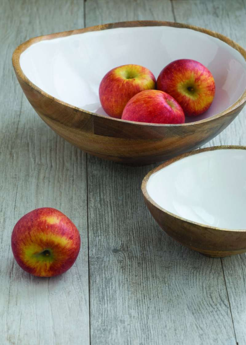 Mango Wood & White Enamel Bowl, Medium