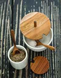 Ceramic Mini Cellar with Teak Lid & Spoon 2
