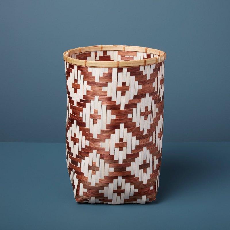 Diamond Weave Bamboo Basket Small, Tan