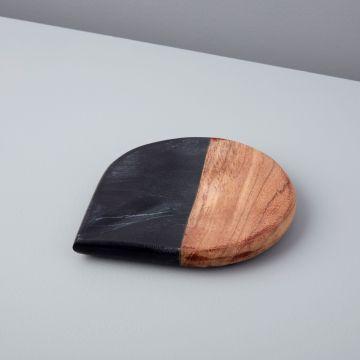 Marine Black Marble & Acacia Spoon Rest