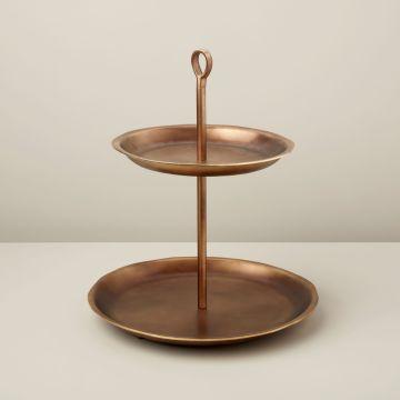 Cobbled Aged Bronze Tiered Platter