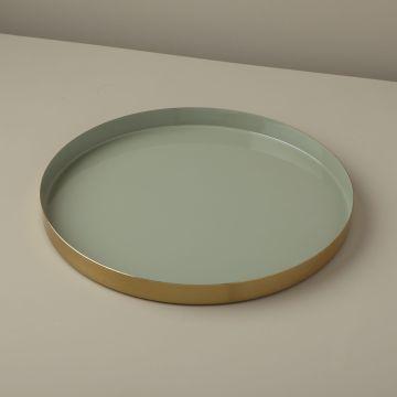 Gold & Enamel Round Tray, Large, Jade