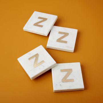 White Marble & Gold Monogram Coasters Set of 4, Z