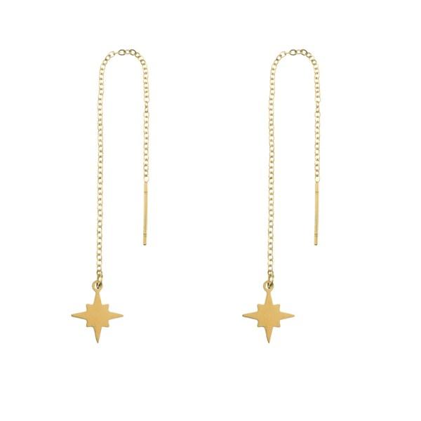 Earrings long chain Northstar gold