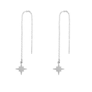 Earrings long chain Northstar silver
