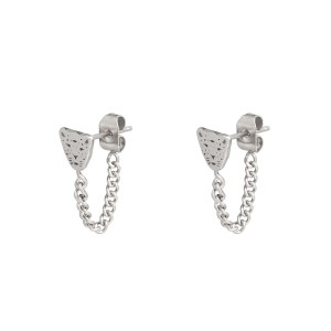 Stud earrings with chain leopard silver