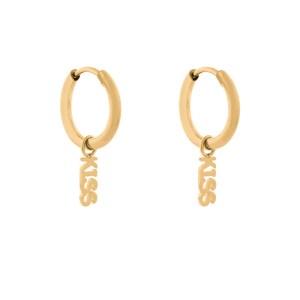 Earrings minimalistic kiss gold
