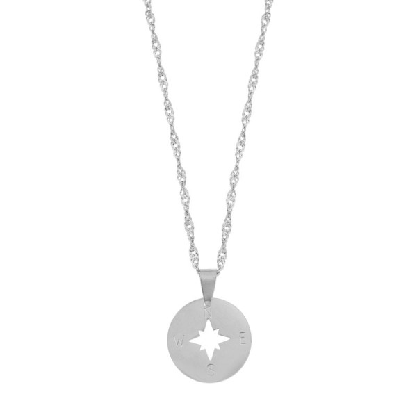 Necklace compass silver