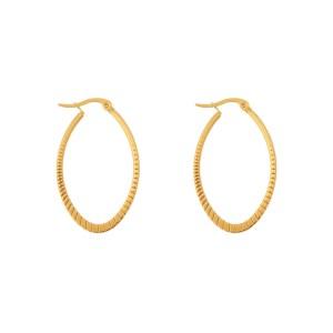 Earrings hoops oval statement small pattern gold