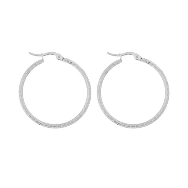 Earrings hoops round basic pattern silver