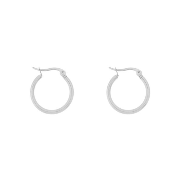 Earrings hoops round basic small silver