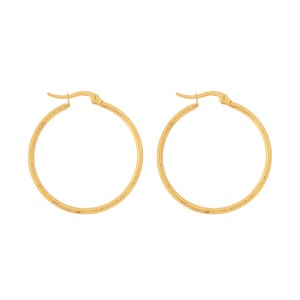 Earrings hoops round basic stripes gold