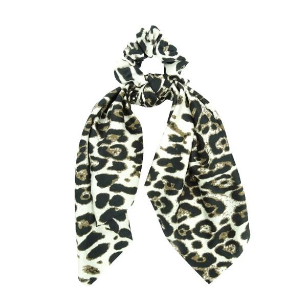 Scrunchie ribbon leopard white