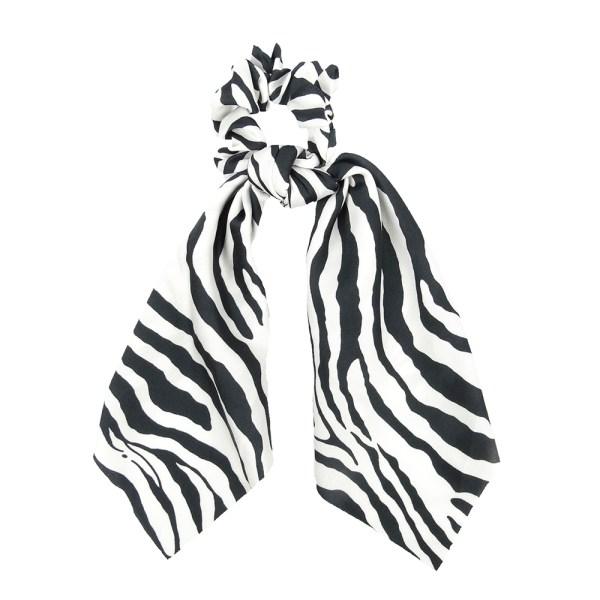 Scrunchie ribbon zebra white