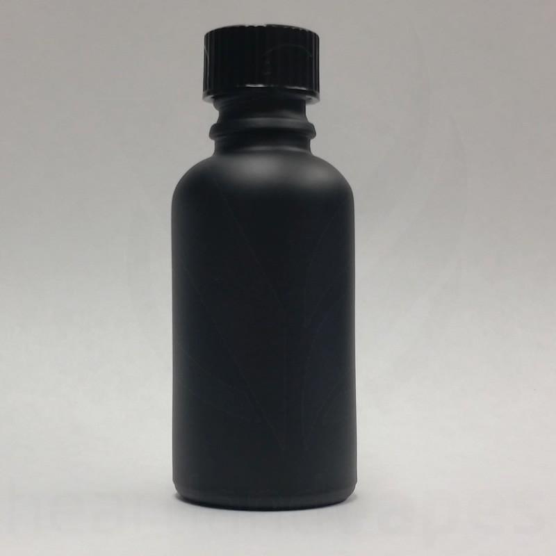 1oz Matte Black Glass Bottle  Boston Round eLiquid 30ml