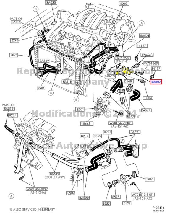 2002 ford taurus engine diagram 2004 dodge ram wiring radio 1999 mercury sable hose diagrams schematic new factory oem heater tube 2003 troubleshooting