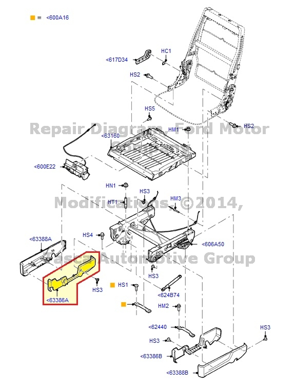 NEW OEM 2ND ROW RH SEAT OUTBOARD BRACKET COVER FORD FLEX