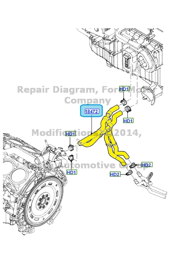 NEW OEM HEATER WATER HOSE 2010-2012 FORD FLEX & LINCOLN