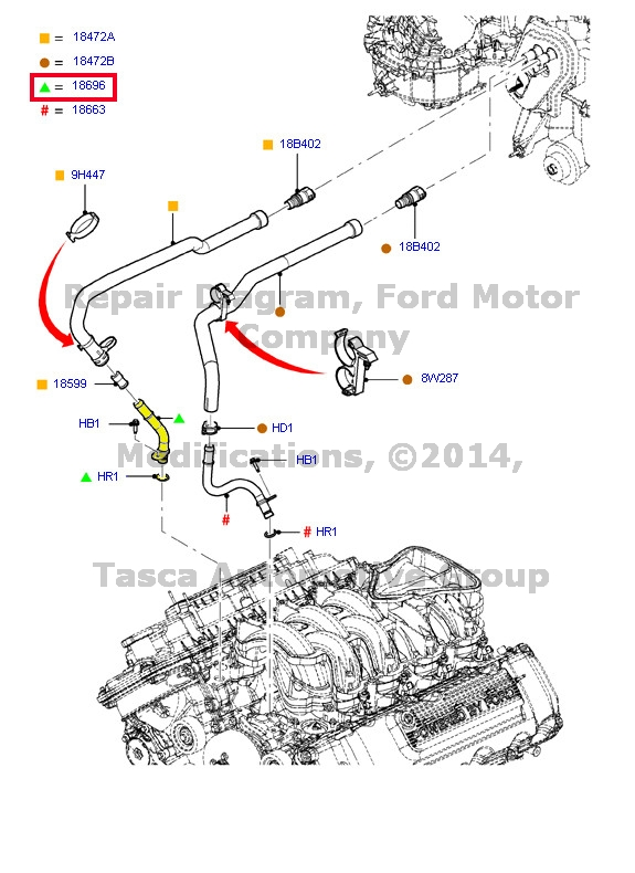 OEM HEATER CORE OUTLET WATER TUBE 2010-2013 FORD F150 F250