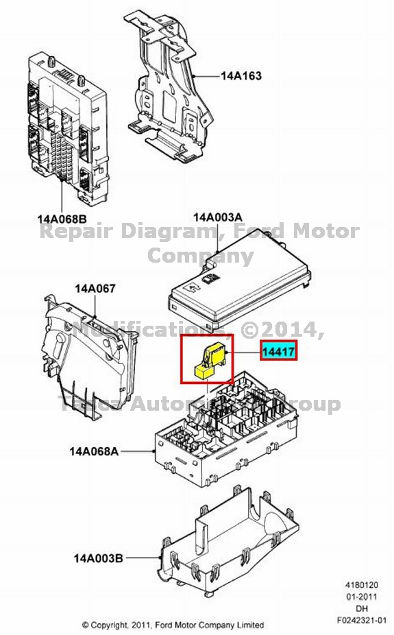 BRAND NEW OEM AUXILIARY RELAY BOX FUSE HOLDER 2012-13 FORD