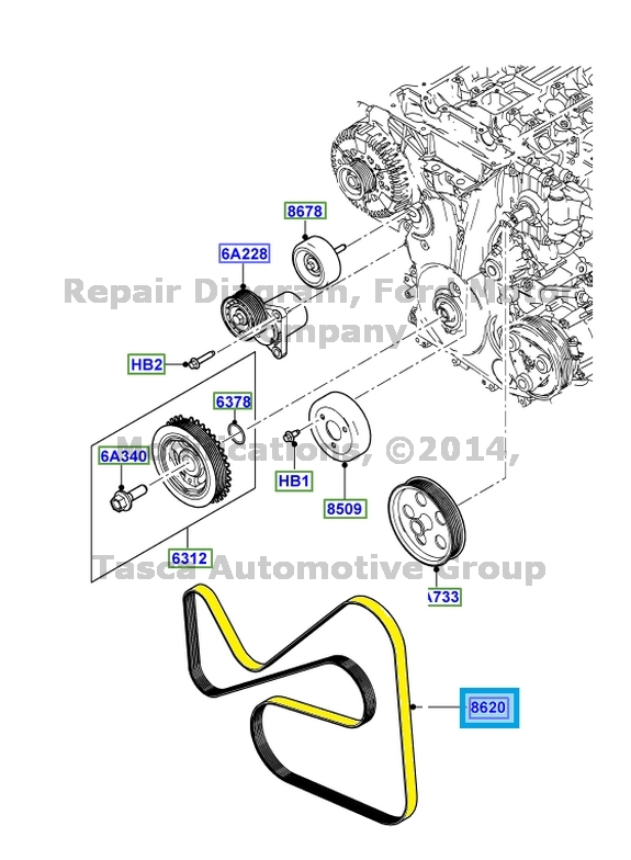 NEW OEM ENGINE DRIVE BELT 2011-13 FORD TRANSIT CONNECT 2