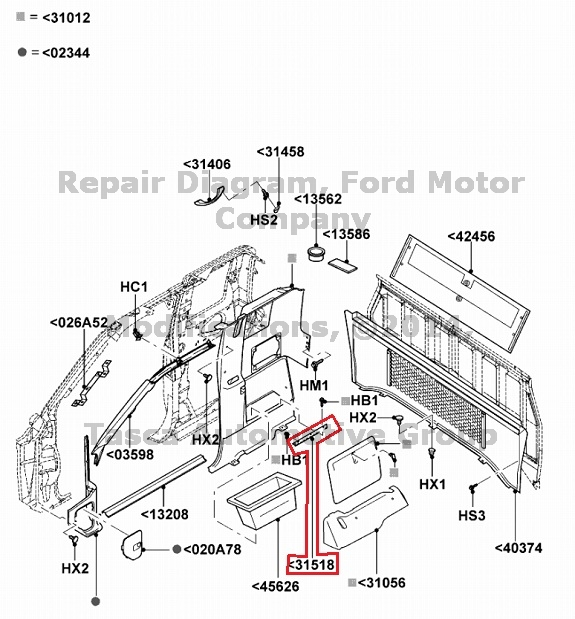 NEW OEM REAR STOWAGE COMPARTMENT DOOR HINGE 1986-2011 FORD