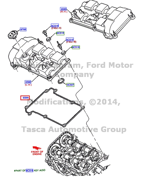 NEW OEM LH VALVE COVER GASKET 2000-2003 FORD TAURUS
