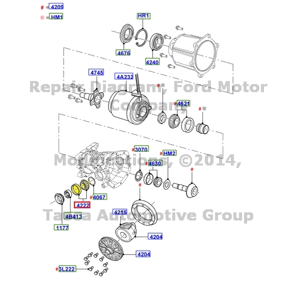 OEM REAR AXLE DIFFERENTIAL CUP & BEARING KIT 2001-2004
