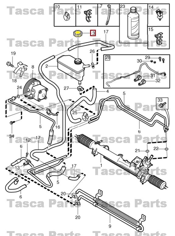 Volvo OEM 05-07 V70 Pump Hoses-steering-reservoir Cap