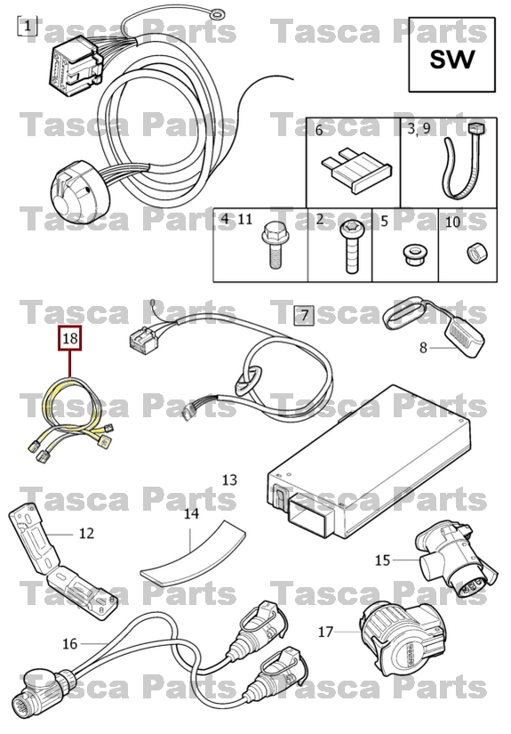 BRAND NEW OEM TOW BAR WIRING HARNESS CABLE 2008-2015 VOLVO