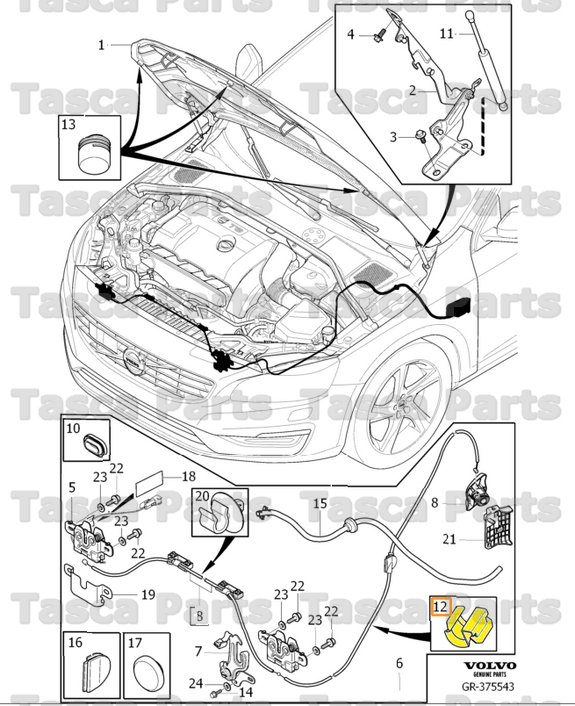 OEM HOOD LATCH RELEASE CABLE RETAINER CLIP 2007-2014 VOLVO