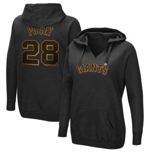 Women's San Francisco Giants Buster Posey Majestic Black Authentic Name & Number Pullover Hoodie