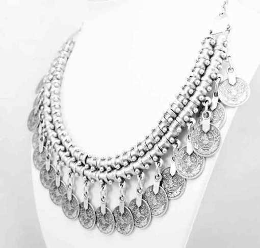 Boho coin necklace.