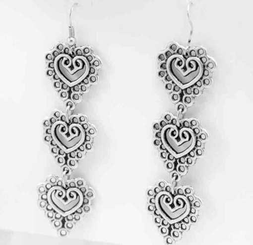 Silver earrings.
