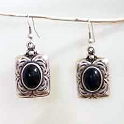 Small black stone earrings