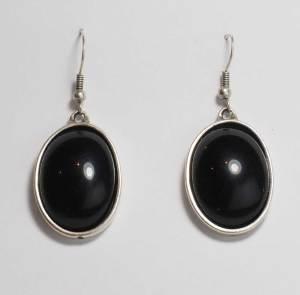 big Black stone earrings